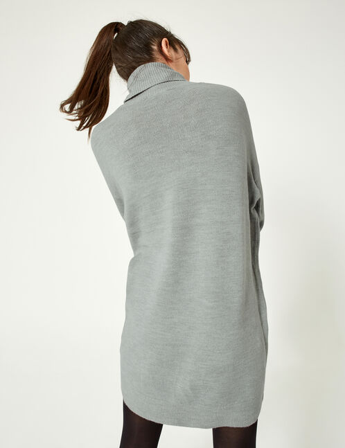 Grey marl polo neck jumper dress