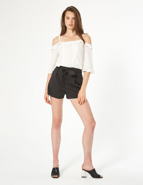 short high waisted tie front