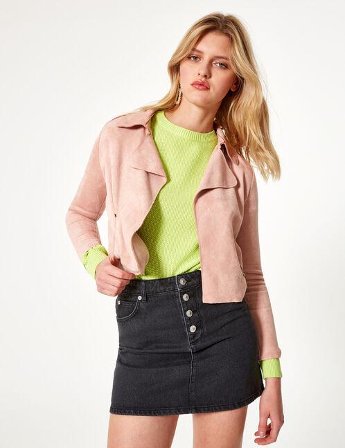 veste suédine rose clair