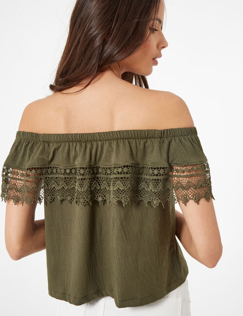 Khaki macramé detail blouse
