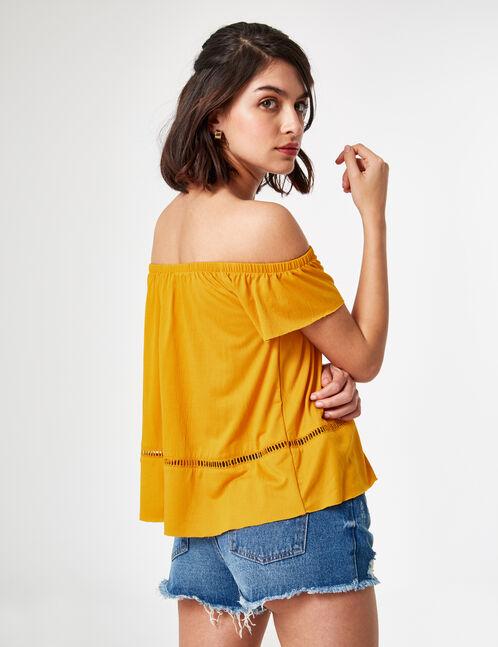 tee-shirt en crêpe ocre