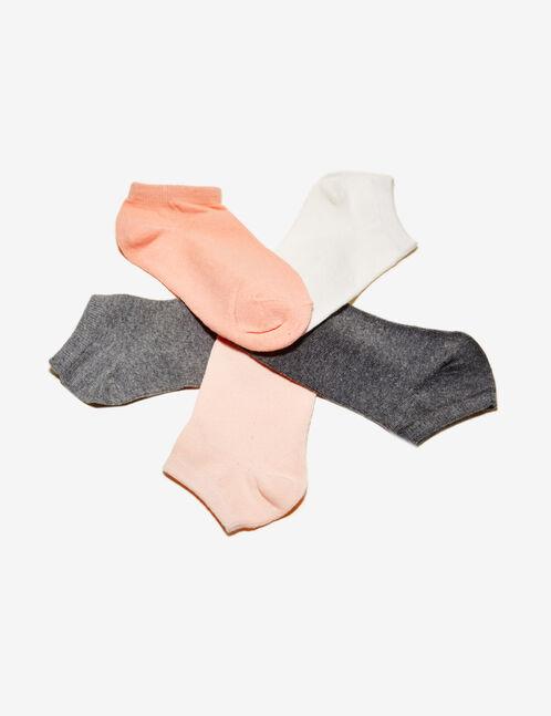 chaussettes basic grises, blanches et corail