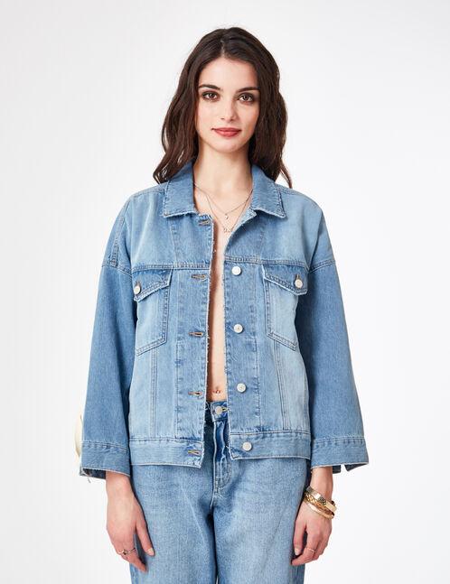 veste en jean avec laçages bleu clair