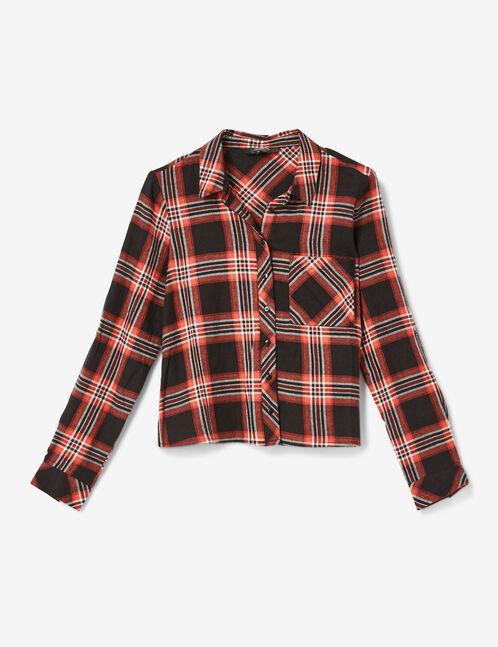 chemise courte à carreaux noire, marron et blanche