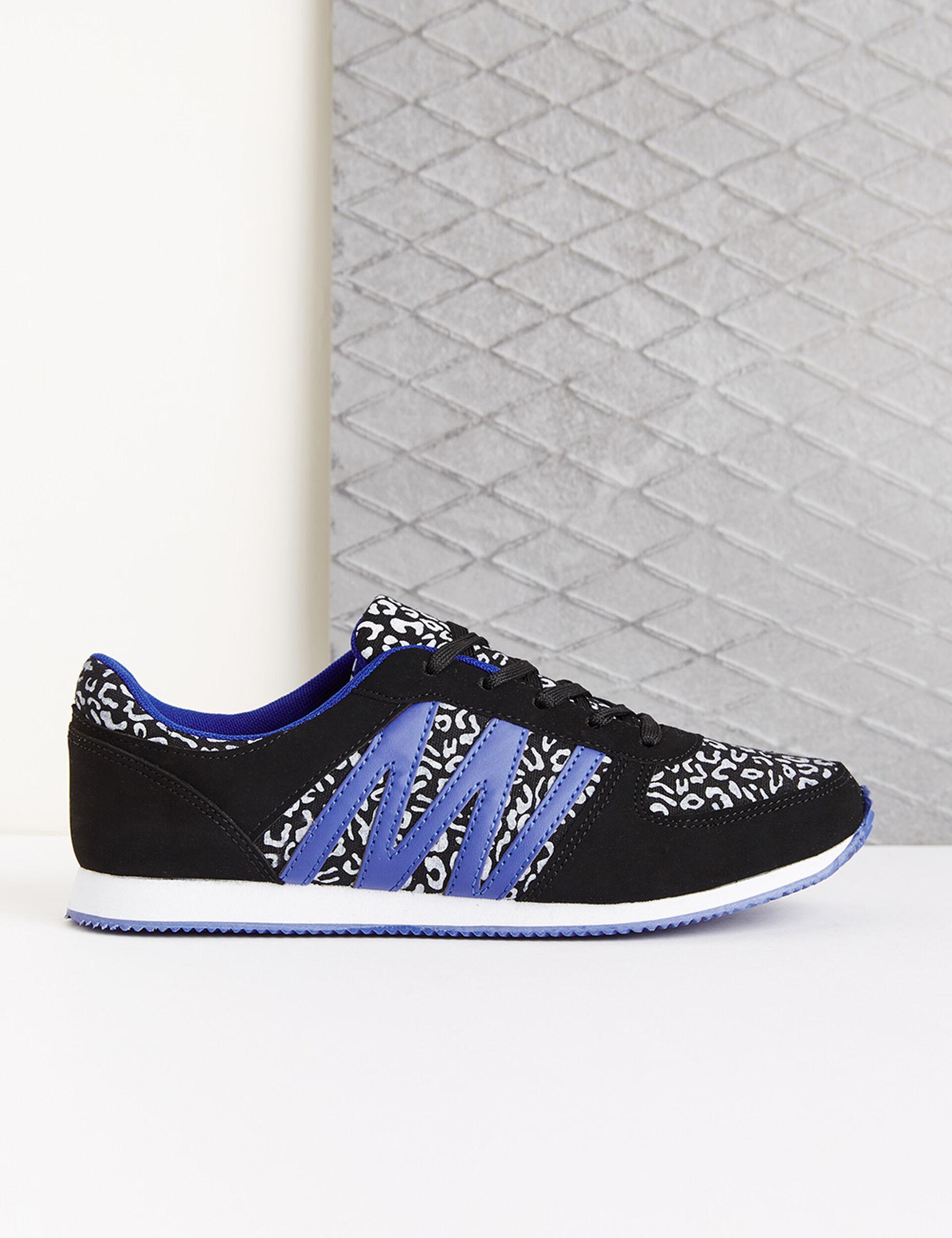 Baskets imprimé léopard noires et bleues