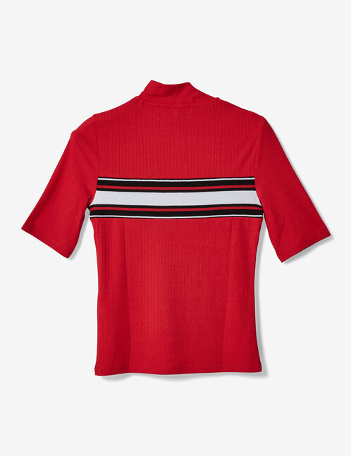 Red T-shirt with striped trim detail
