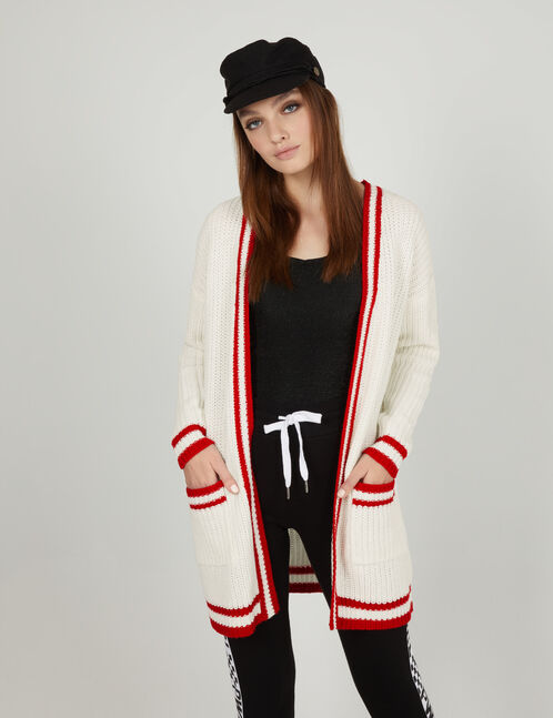 Long cream and red cardigan with pockets