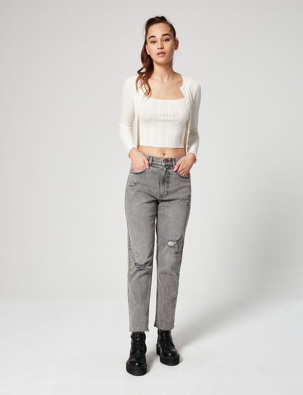 Distressed slim fit mom jeans