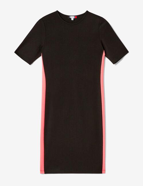 robe avec bandes noire et rose fluo