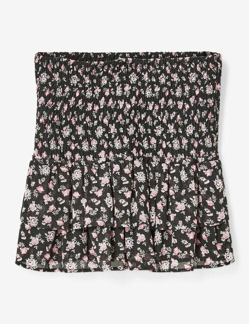 jupe fleurie à volants noire et rose