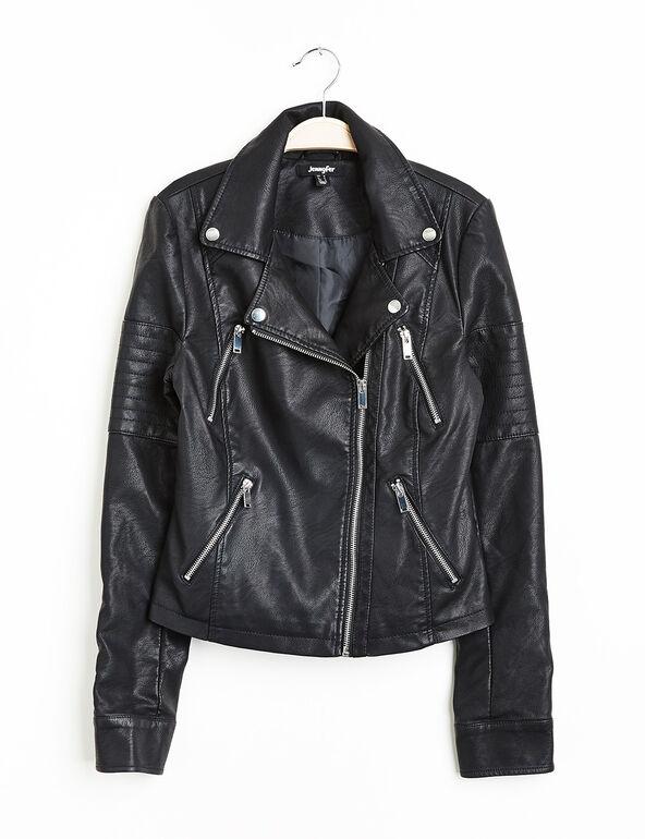 Blouson biker simili cuir noir