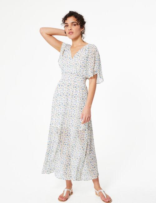 Striped print maxi dress