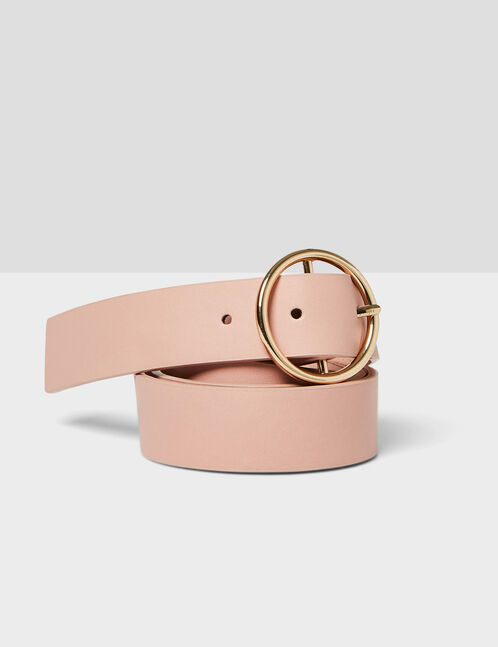 ceinture boucle ronde rose clair