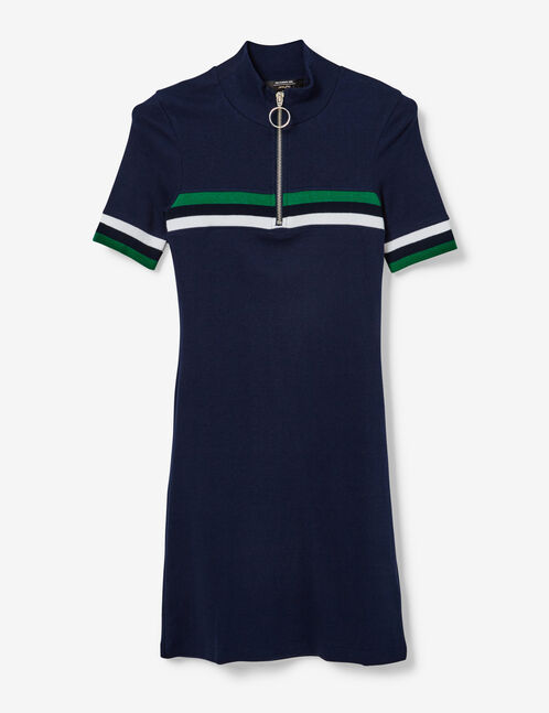 Navy blue, green and white sporty dress