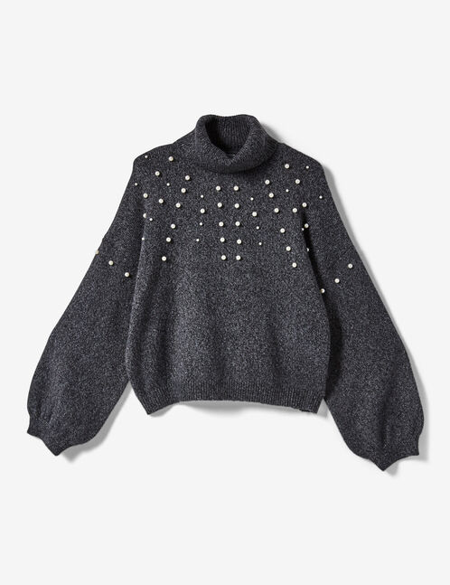 Charcoal grey marl jumper with beading detail
