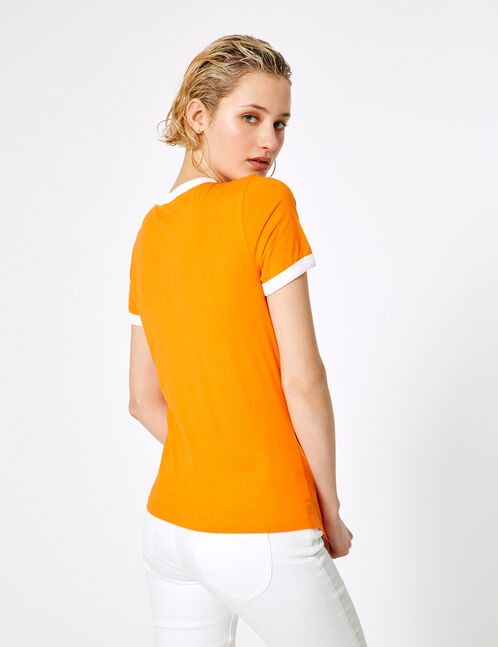 tee-shirt imprimé chevrons orange