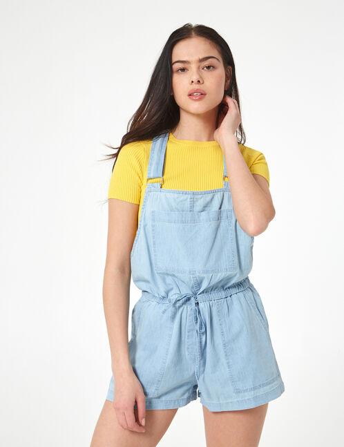 combishort en jean bleu ciel