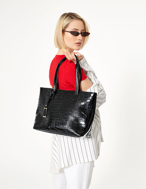 Black python skin tote bag