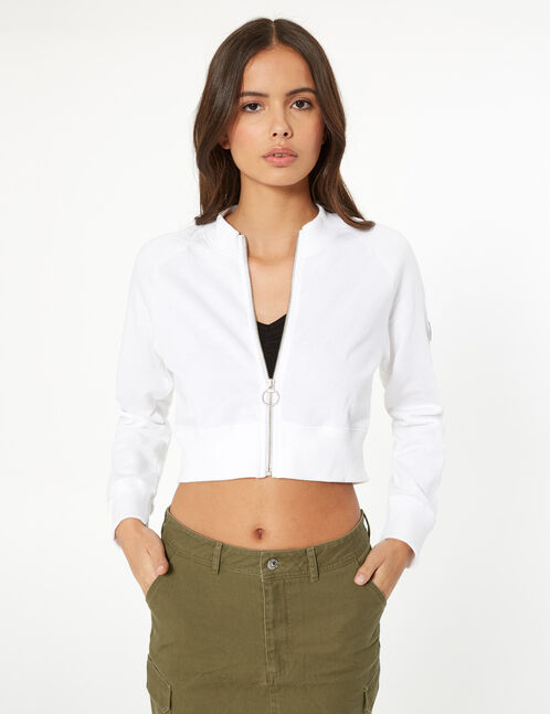 sweat court zippé blanc