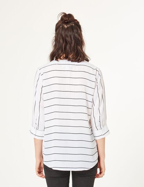 blouse avec laçage rayée écrue et noire