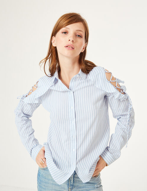 chemise rayée avec laçage  bleu clair et écrue