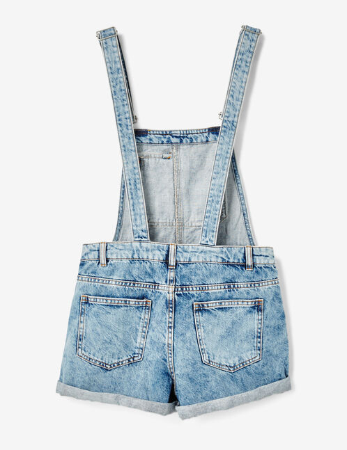 salopette short en jean medium blue