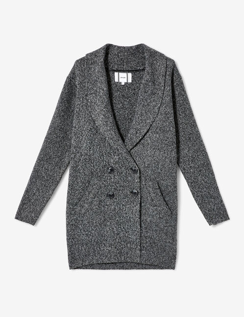 Long charcoal grey marl buttoned jacket