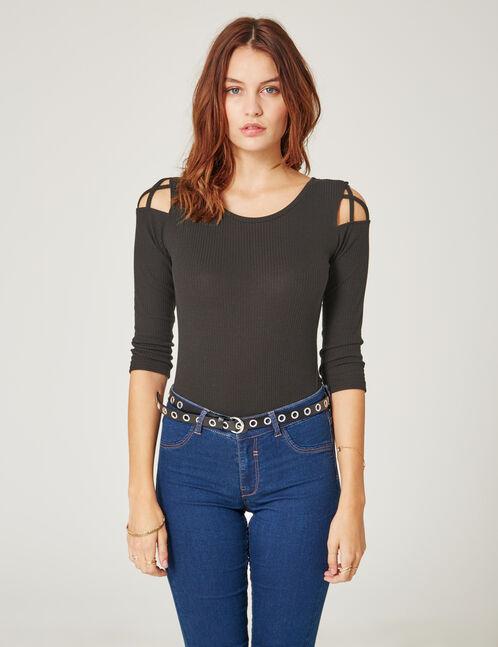 Black bodysuit with lacing detail