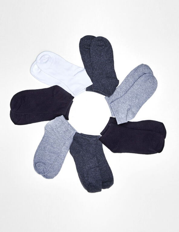 Black, grey and white socks