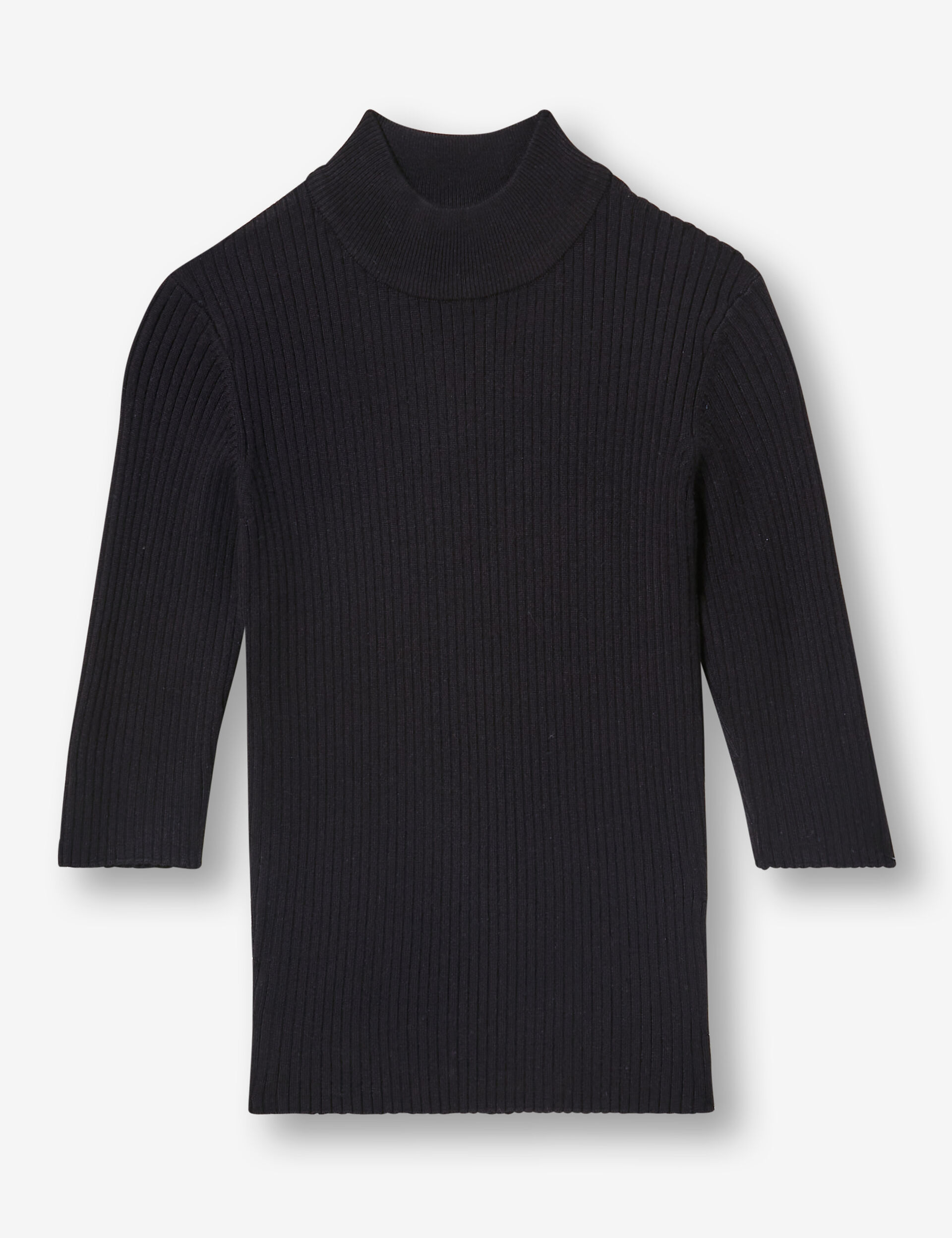 Polo-necked ribbed jumper
