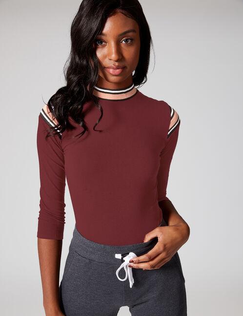 Plum bodysuit with stripe detail
