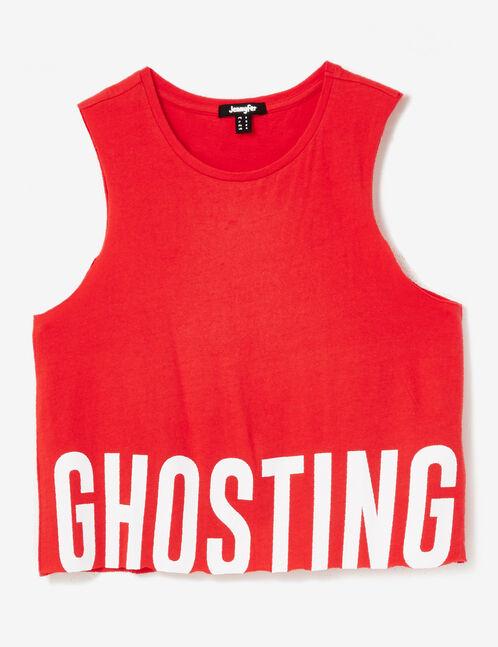 "Red ""ghosting"" tank top"