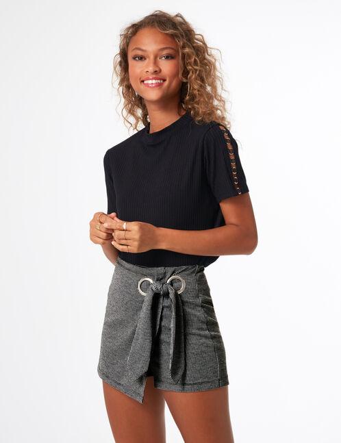 Grey and black miniskirt with tie detail