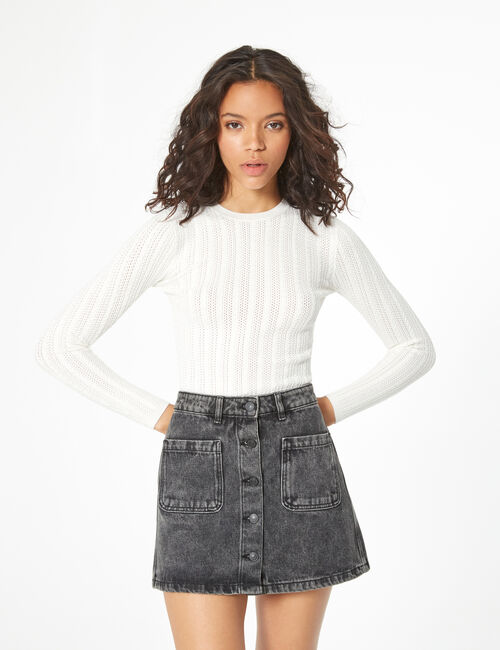 Openwork and cable knit jumper
