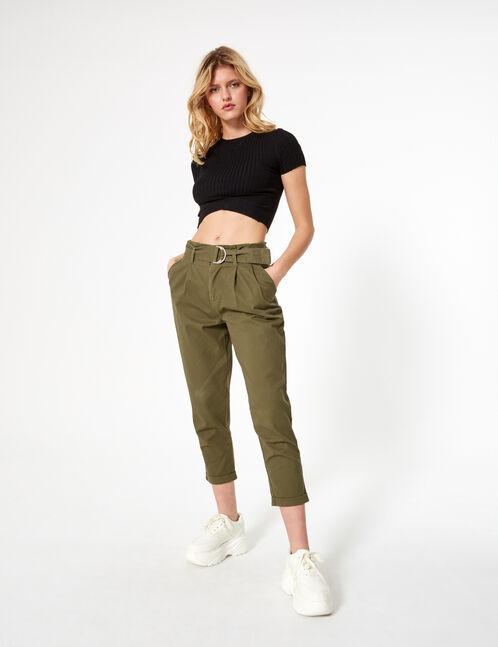 Khaki paperbag trousers