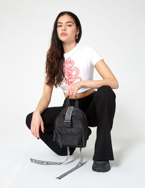 Mini backpack with slogan
