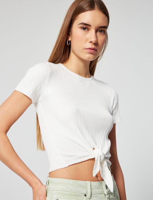 Knotted ribbed jumper