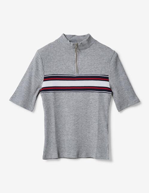 tee-shirt avec bande rayée gris chiné