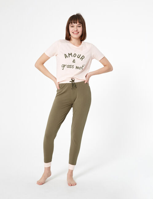 set pyjama à message rose clair et kaki
