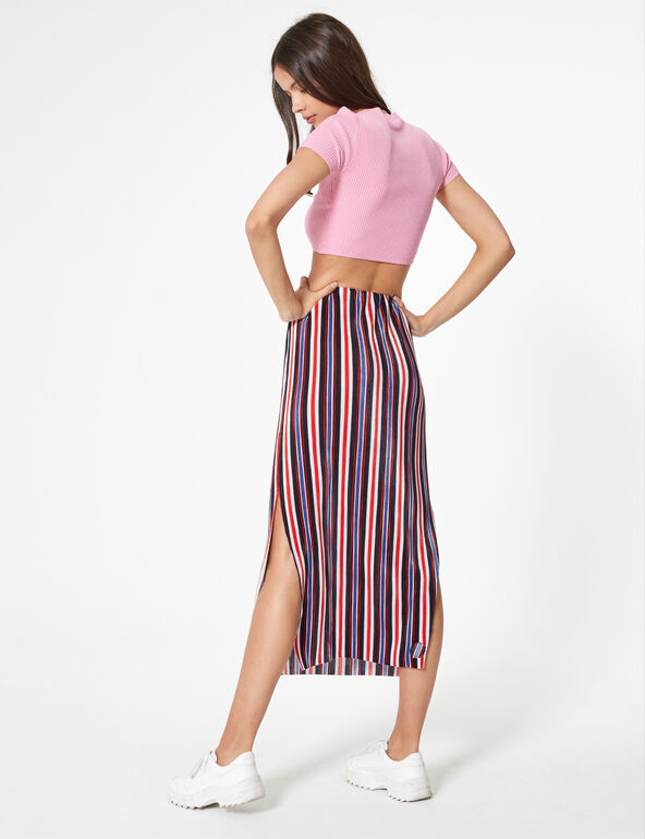 Black, white, blue and red pleated maxi skirt