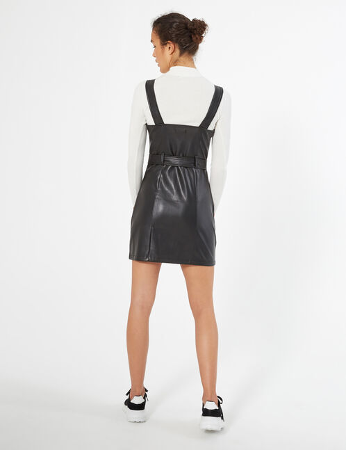 faux leather zipped dress