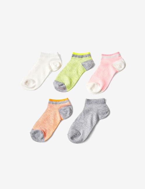 chaussettes rayées grises, blanches, rose fluo, orange fluo et jaune fluo