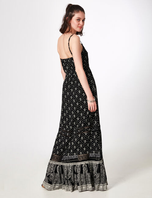 robe longue avec macramé noire et écrue
