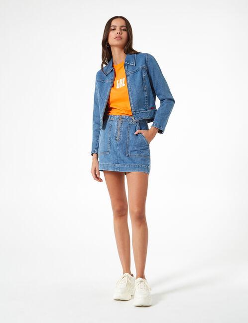 veste en jean zippée medium blue