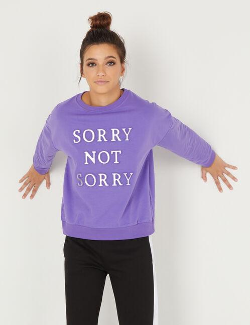 sweat message en relief violet