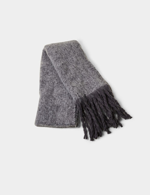 Grey scarf with braided fringing