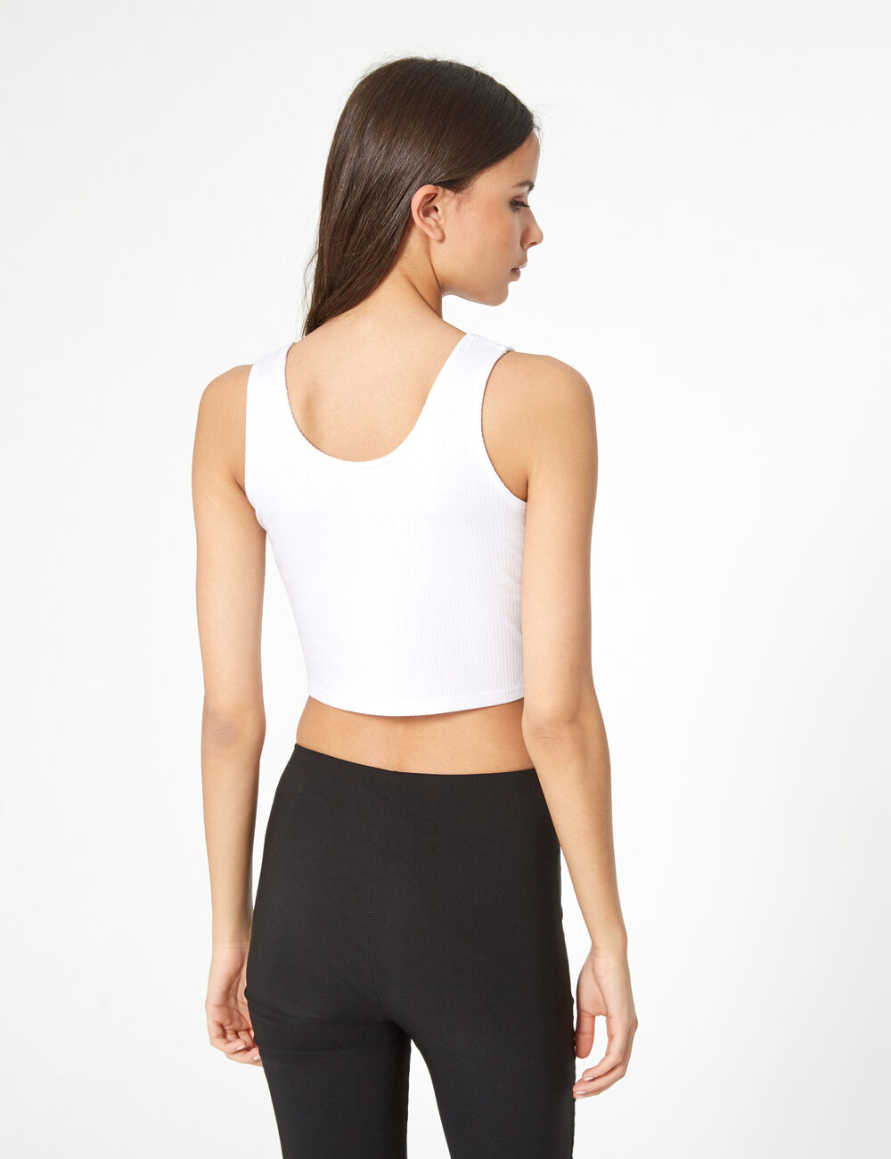 32b1ad8dde6 White hook-and-eye crop top woman • Jennyfer