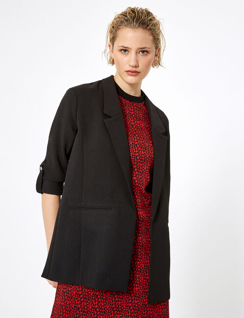 blazer manches roll up noir