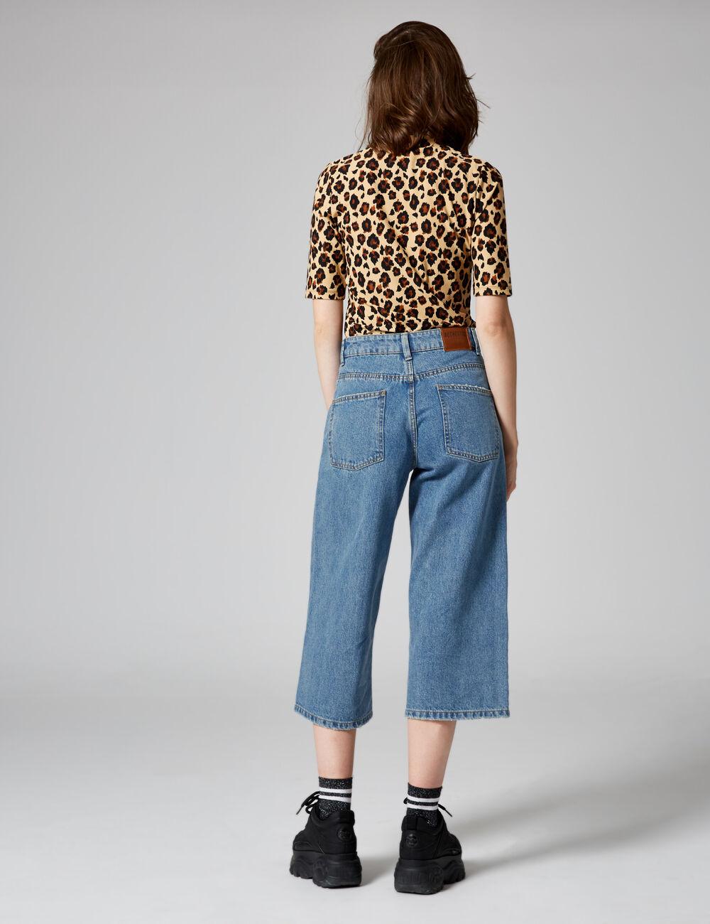 jupe culotte en jean medium blue femme jennyfer. Black Bedroom Furniture Sets. Home Design Ideas