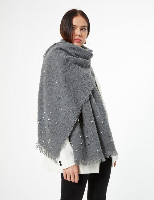 Tweed scarf with pearl detail